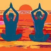 Coppia di sagoma yoga — Vettoriale Stock
