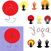 Illustration of yoga poses. — Stock Vector