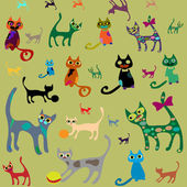 Set isolated vector cats. — Stock Vector