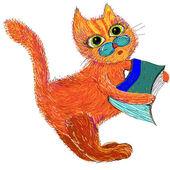 Cartoon cat with a book. — Stock Vector