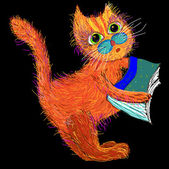Cute cartoon cat with a book. — Stock Vector