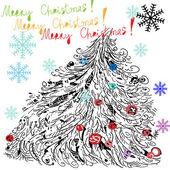 Vánoční strom na bílém pozadí. — Stock vektor