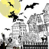 Ink sketch halloween background — Stock Vector