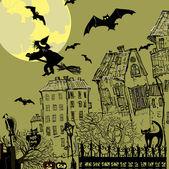 Halloween background with moon — Stock Vector