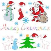 Weihnachtsbaum und der weihnachtsmann — Stockvektor