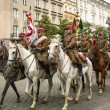 Polish cavalry in historical city cente — Stock Photo