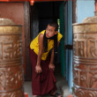Stock Photo: monk in the rumtek monastery