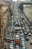 Cars stands in traffic jam — Zdjęcie stockowe