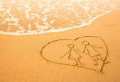 Heart on the sea beach — Stock Photo
