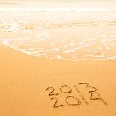 2013-2014 年写在沙滩上 — 图库照片