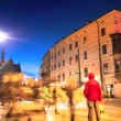 Crossroads on the busy street in the center of Krakow at night time — Stock Video