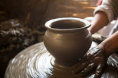 Clay on potter's wheel — Stock Photo