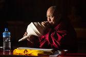 Unidentified Buddhist lama play music — Stok fotoğraf