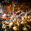 Unidentified Nepalese tinmans working in the his workshop — Foto Stock