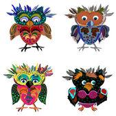 Set of Cute Owl — Stock Vector