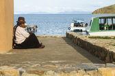 Unidentified local Aymara woman in his village on Isla del Sol, Bolivia. — Stock Photo