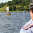 During of international historical festival Ladogafest-2013 on Ladoga, Russia. — Stock Photo #39025305