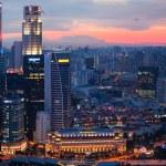 Singapur üzerinde çatı marina defne otel kenti — Stok fotoğraf