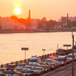 Shortness of traffic due to repairs Greater Obukhov (cable-stayed) Bridge — Stock Photo