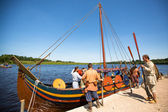 During of international historical festival Ladogafest-2013 on Ladoga, Russia. — Stock Photo