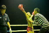 Unidentified young Muaythai fighters in ring during match on Chang, Thailand. — Stock Photo
