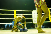 Oidentifierad ung muaythai fighters i ringen under match på chang, thailand. — Stockfoto