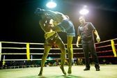 Unidentified Muaythai fighters in ring during match on Chang, Thailand. — Stock Photo