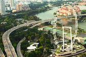 Uma vista da cidade a partir do hotel marina bay de telhado em singapura. — Foto Stock
