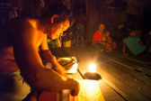 Unidentified people Orang Asli in his village 3 in Berdut, Malaysia. — Stockfoto