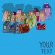 Houses, with place for your text. — Vector de stock