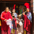 Stock Photo: Unidentified monks circle Boudhanath