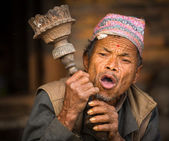 Nepalese man smokes — Stock Photo
