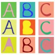 Alphabet cubes with A,B,C letters. — Stock Vector