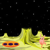 Ufo alieno volante su un altro pianeta — Vettoriale Stock