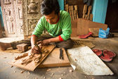 Unidentified Nepalese man working — Stock Photo