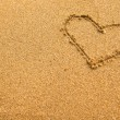 Inscription heart of sand texture. — Stock Photo
