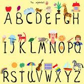 Illustrated Alphabet — Stock Vector