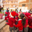 图库照片: Unknown pupils during dance lesson in primary school in Nepal