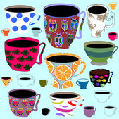 Retro porcelain tea cups — Stock Vector