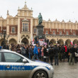 Stock Photo: Unidentified participants during demonstration on Main Square in Krakow