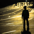 Silhouette of road policemen — Stock Photo
