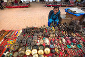 Unidentified sellers souvenirs at Durbar Square — Stock Photo