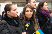 Unidentified participants during demonstration on Main Square in Krakow — Stock Photo