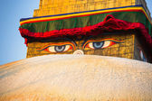 Close-up Buddha Eyes of Bodhnath Stupa in Kathmandu. — Stock Photo