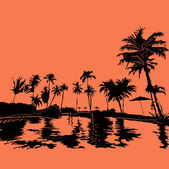 пляжный курорт в тропиках — Cтоковый вектор