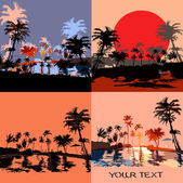Set of beach in the tropics at sunset — Vector de stock