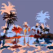 Beach in the tropics — Vector de stock