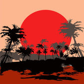 Beach resort in the tropics at sunset — Stockvector