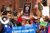 Unidentified participants protest — Stock Photo
