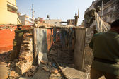 Police during demolition of residential slums — Stock Photo